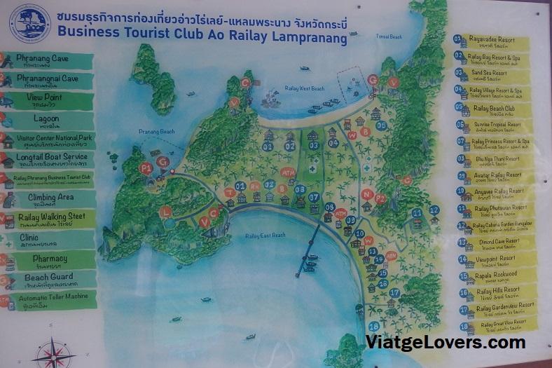 Mapa de Railay. Tailandia -ViatgeLovers.com